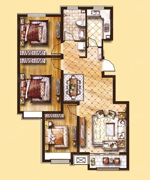 哈罗城三室两厅一卫100.52平米户型图户型