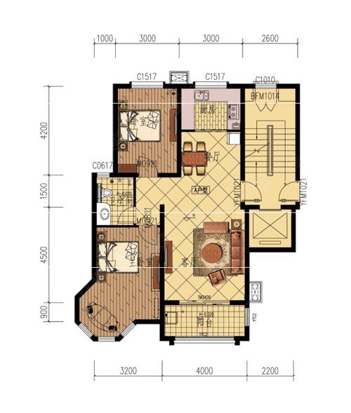 紫荆春天a两室两厅一卫户型图-2室2厅1卫