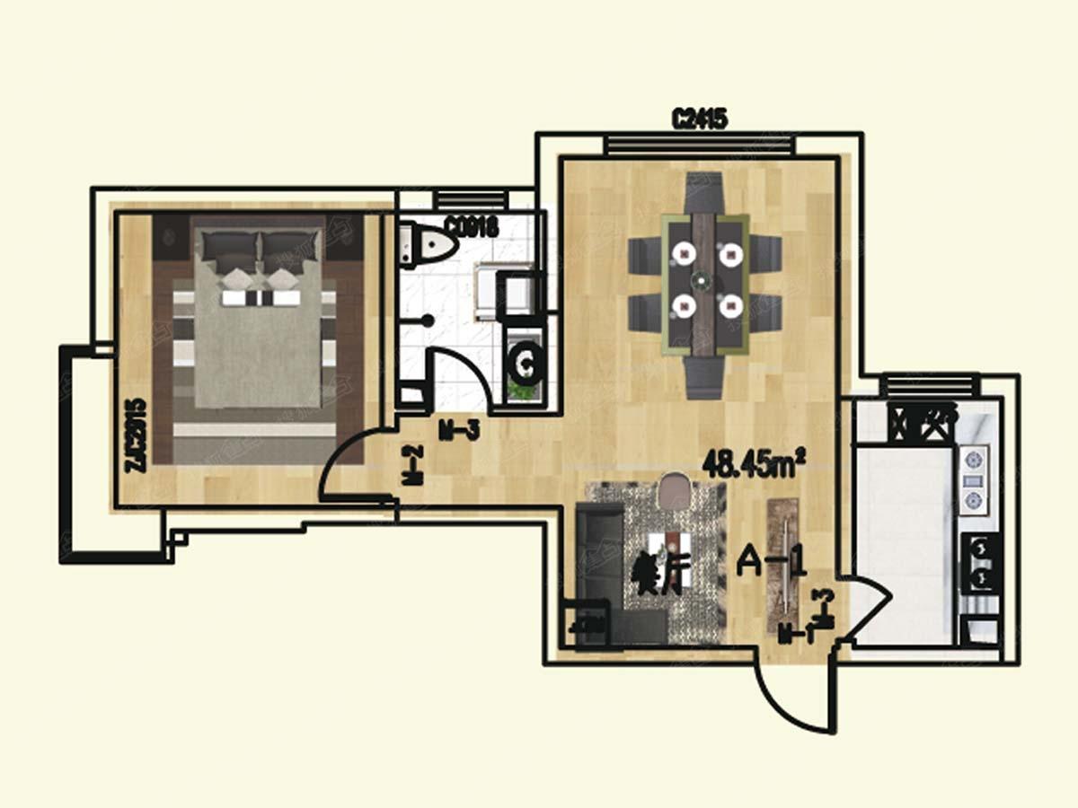 中国海南海花岛一居室紫云名都 1室2厅1卫 71.57㎡_海