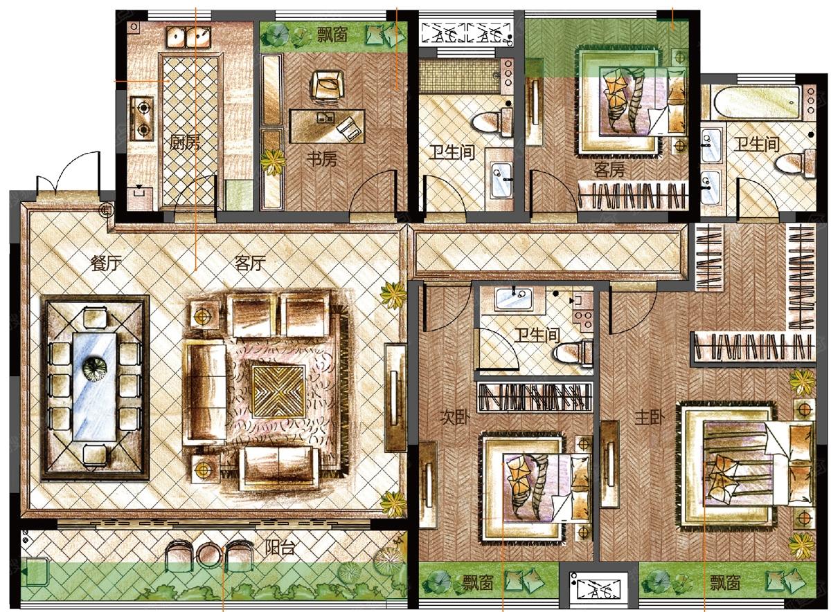 房屋建筑学四室两厅设计图展示