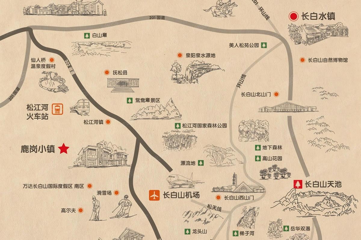 长白山手绘地图