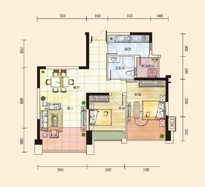 绿地城二居室汇厦沙河锦庭c3户型_绿地城户型图-成都