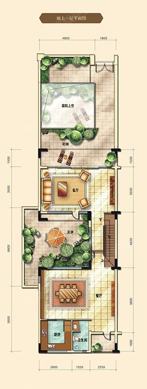 香江半岛五居室c户型(350㎡)地上一层图_香江半岛户型