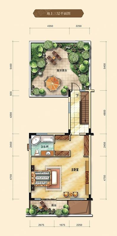 香江半岛五居室d户型(370㎡)地上三层图_香江半岛户型