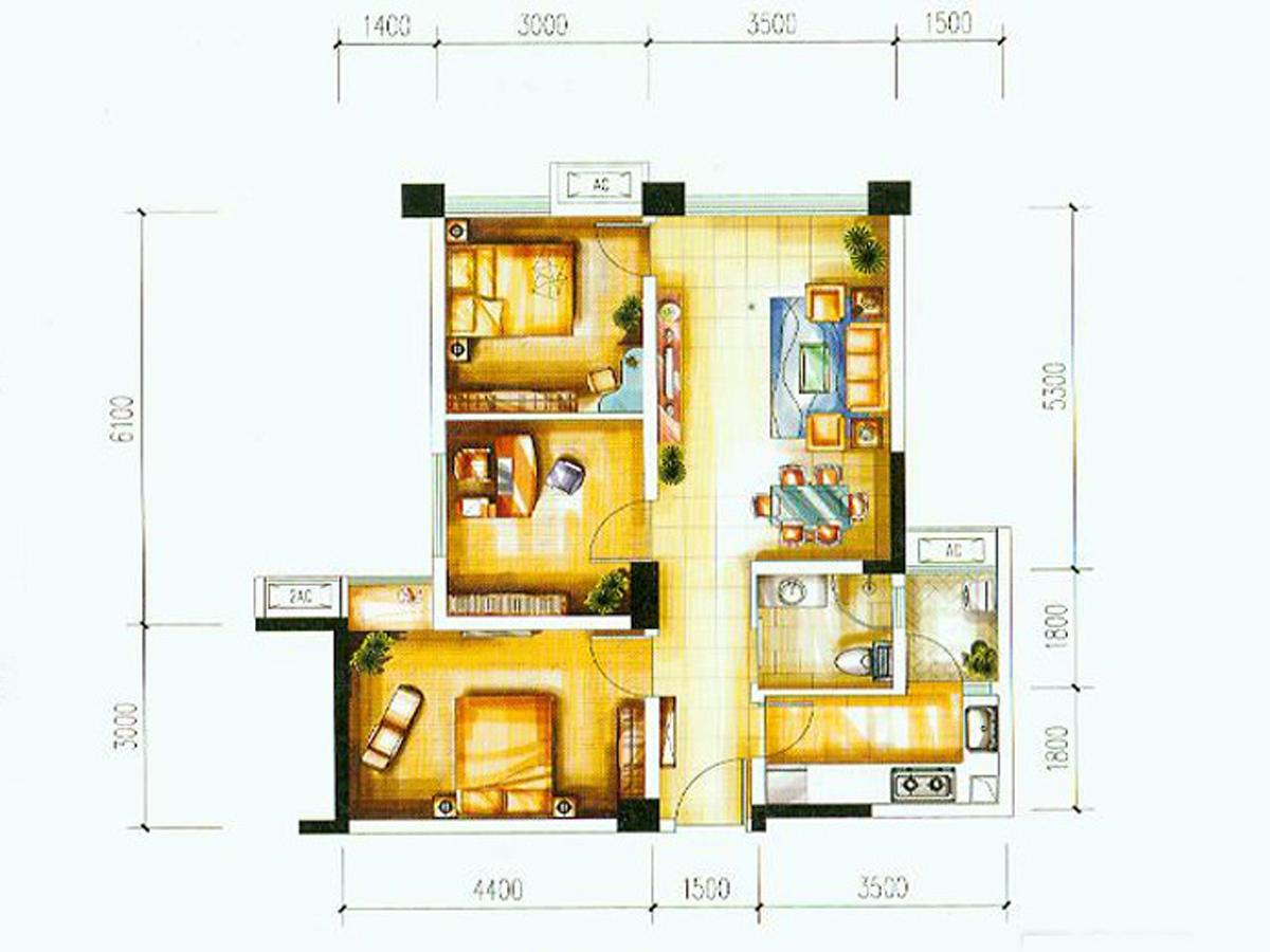 建发鹭洲国际三居室b2_建发鹭洲国际户型图-成都搜狐