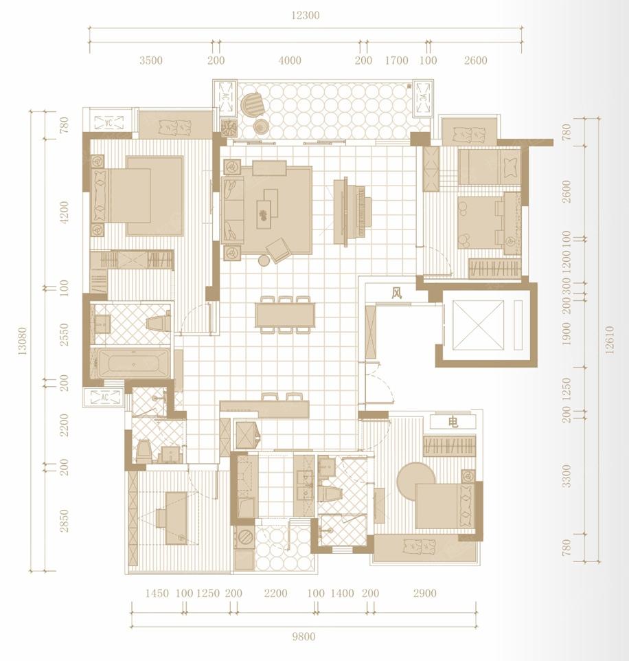 圣桦公馆四居室d_圣桦公馆户型图-成都搜狐焦点网