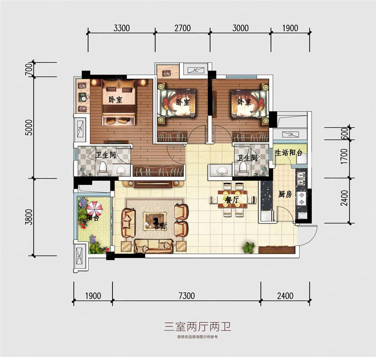 雍景苑三居室a`_雍景苑户型图-成都搜狐焦点网