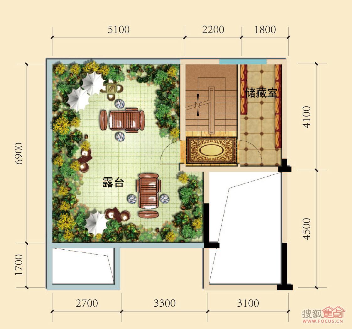 c-8叠拼别墅五层平面图户型