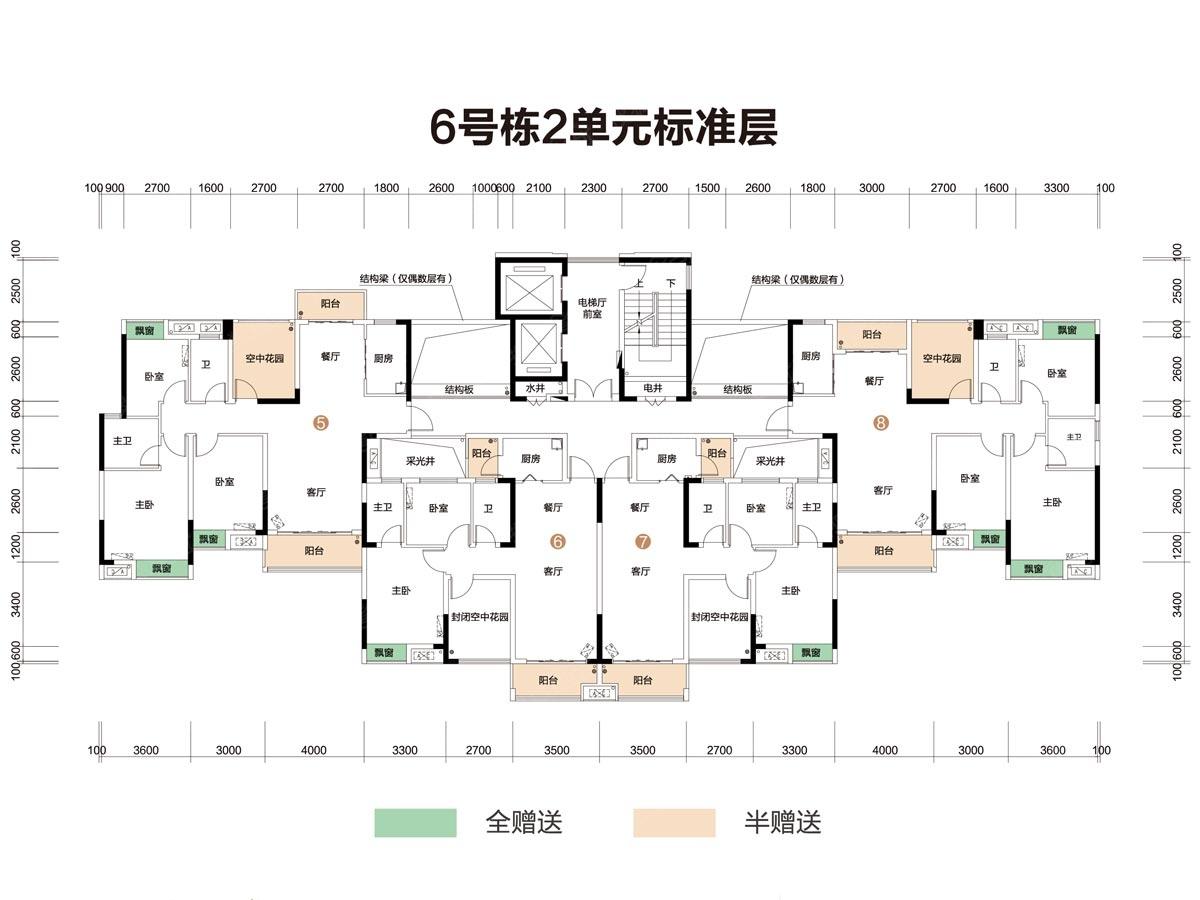 6号栋2单元楼层平面图