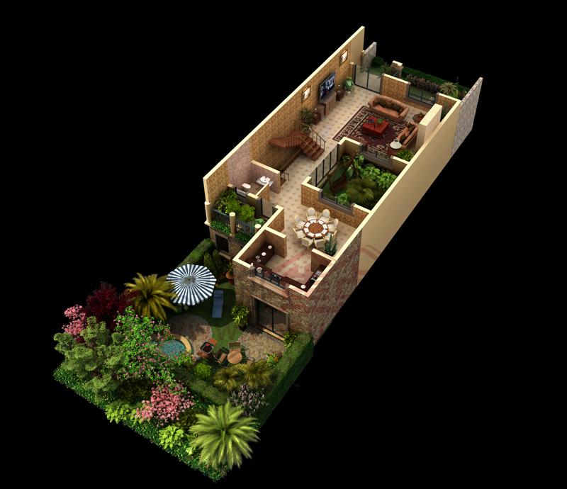 常发香堤半岛零居室北庭院中间户-1层户型