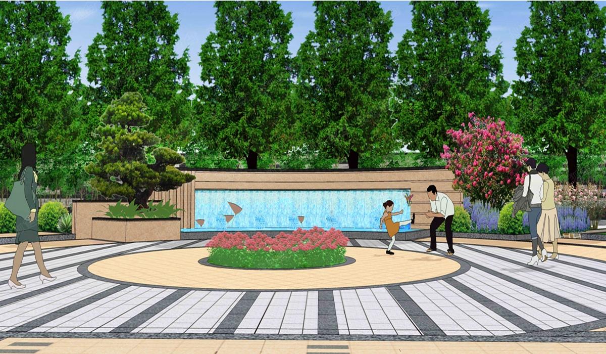 米兰公馆水景墙效果图