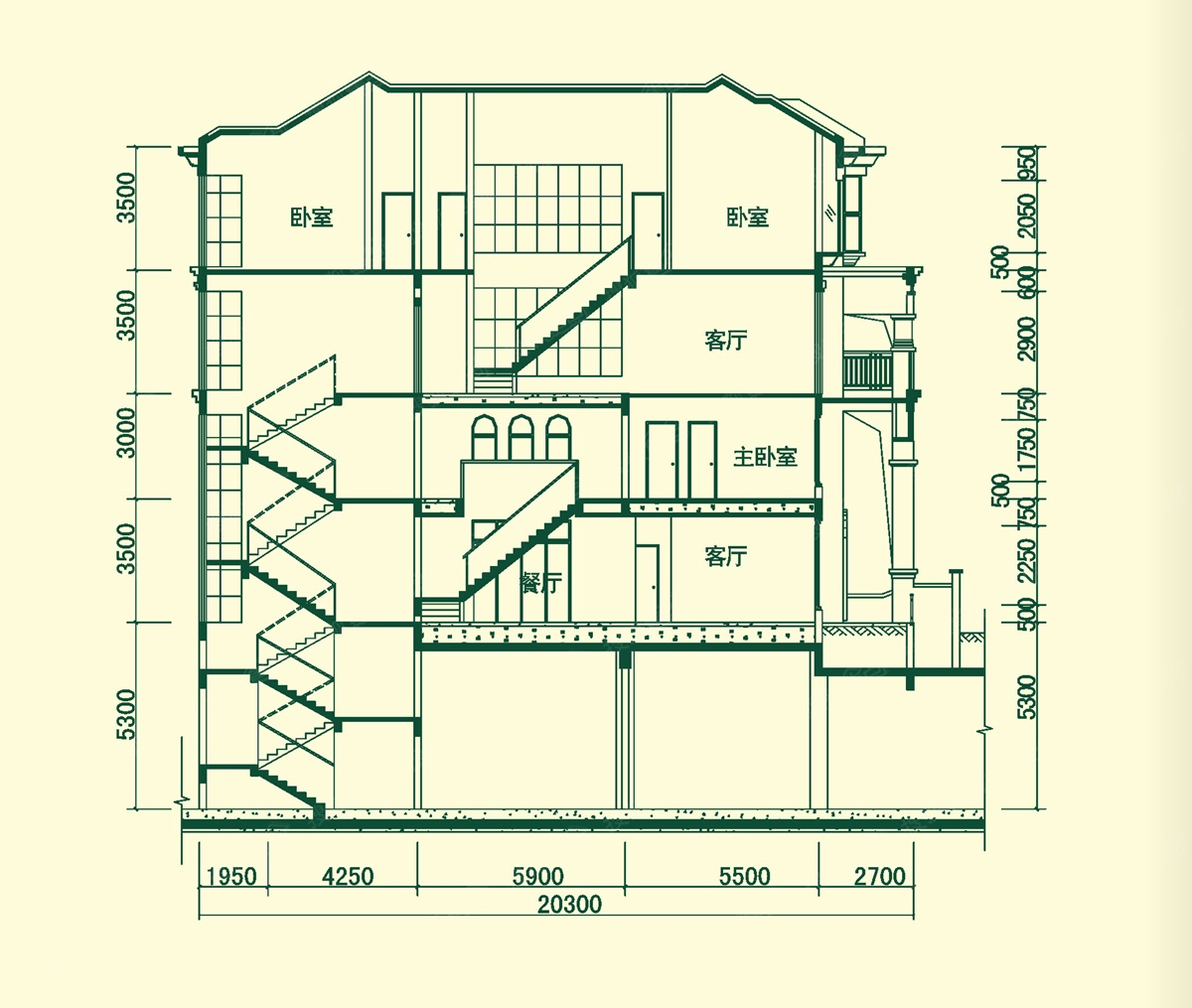 叠加别墅a户型图-叠加别墅剖面图