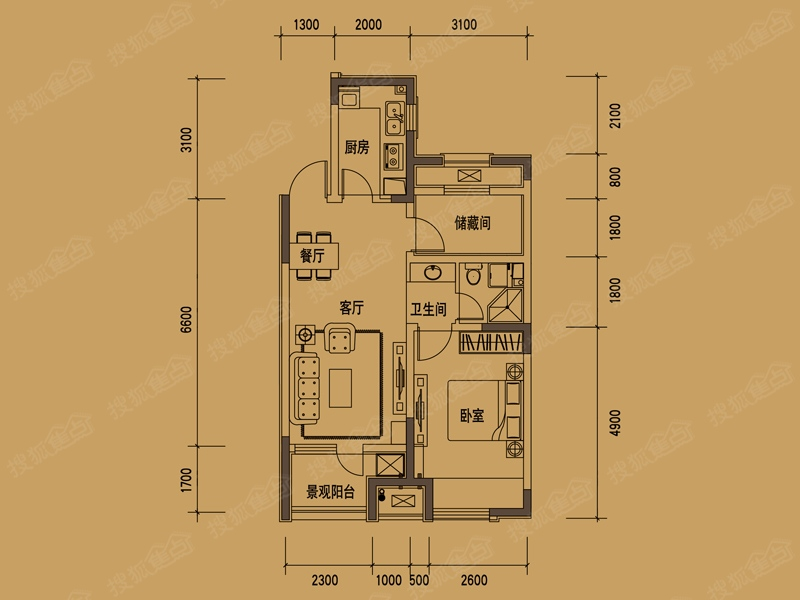 大华锦绣华城二居室71平方米_大华锦绣华城户型图