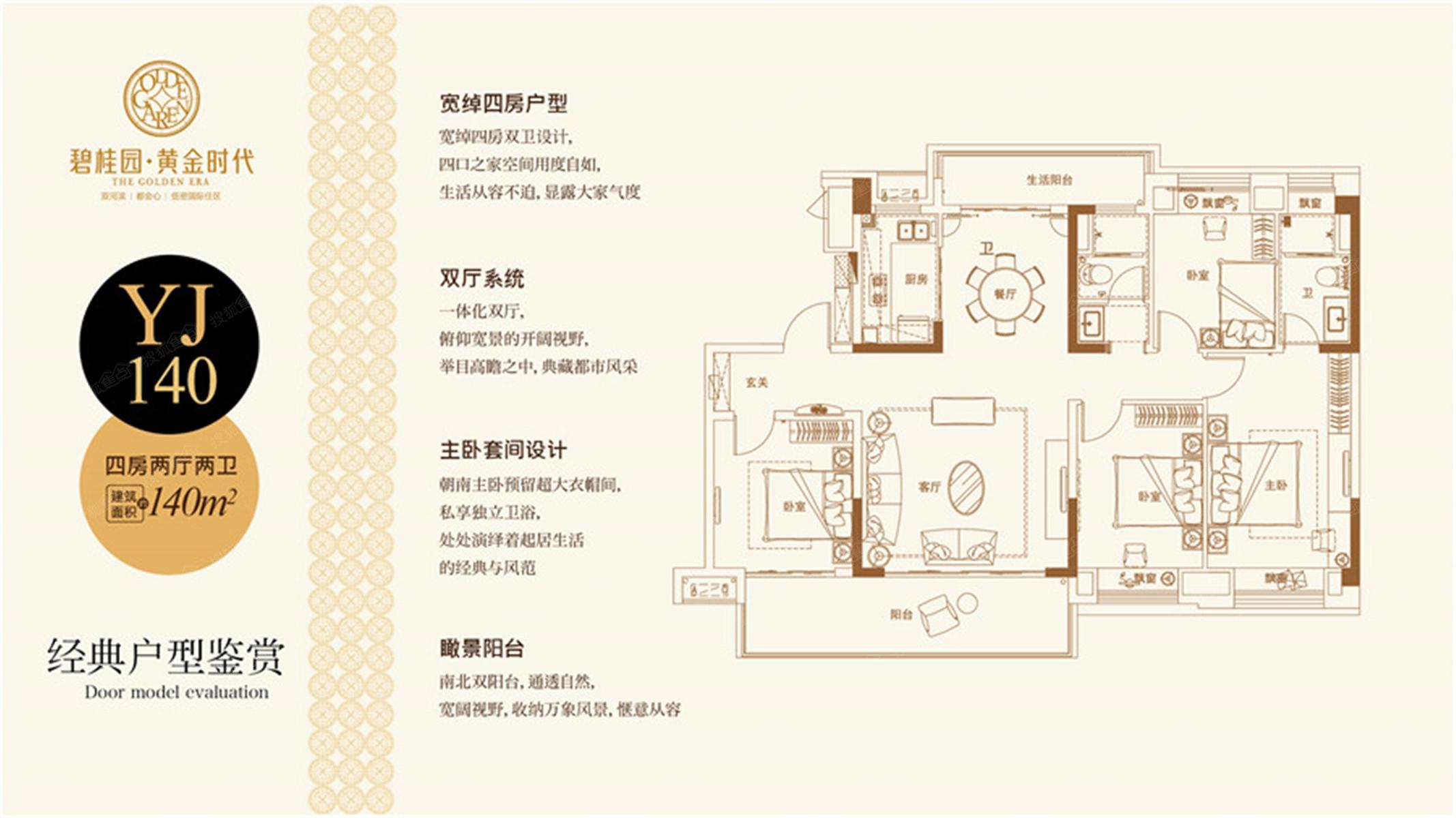 碧桂园 黄金时代四居室YJ140 碧桂园 黄金时代户型图 阜阳搜狐焦点网