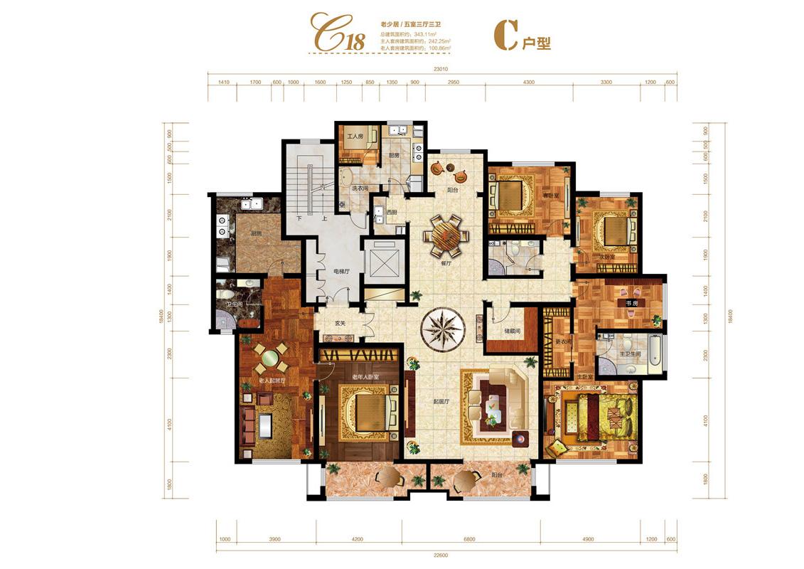 上东墅五居室麦迪逊花园三期c18-老少居c户型图_上东