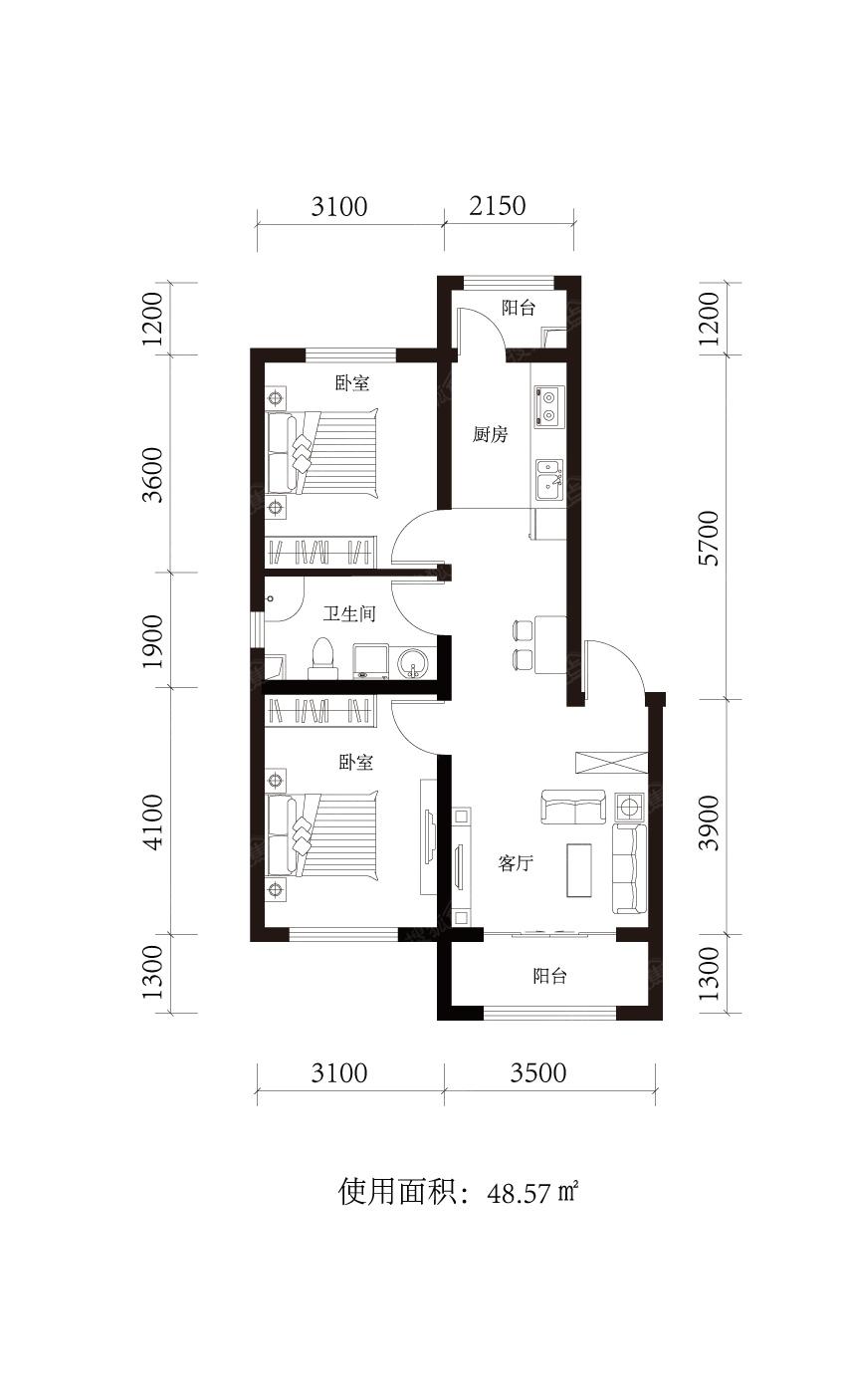 辰能溪树庭院二居室48.57平米两居户型图_辰能溪树图