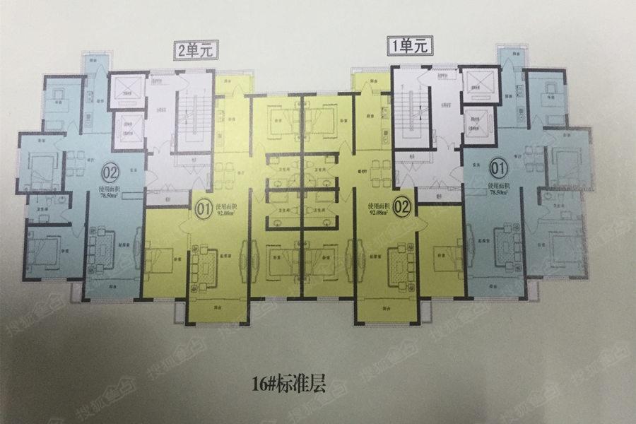 香林名苑16号楼楼层平面图