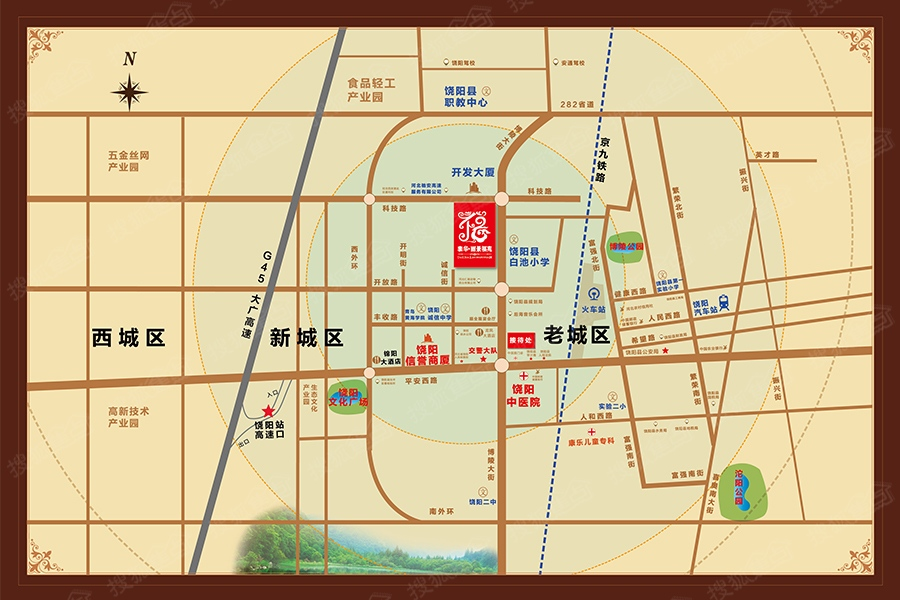 饶阳县城街道地图