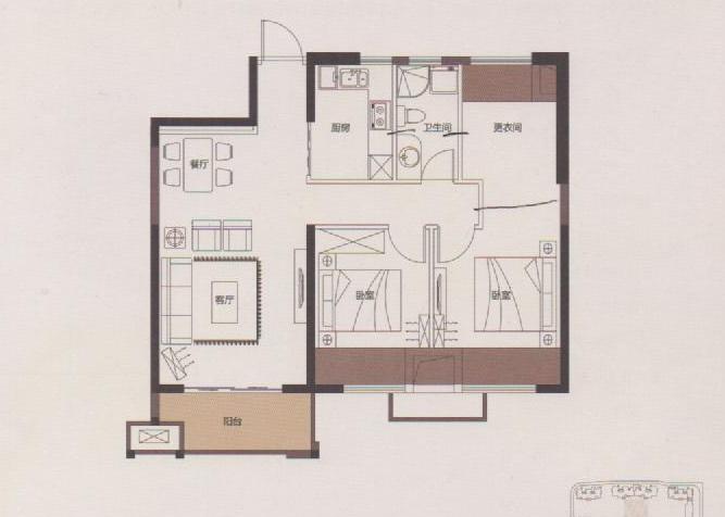 两室两厅一卫房屋设计图展示