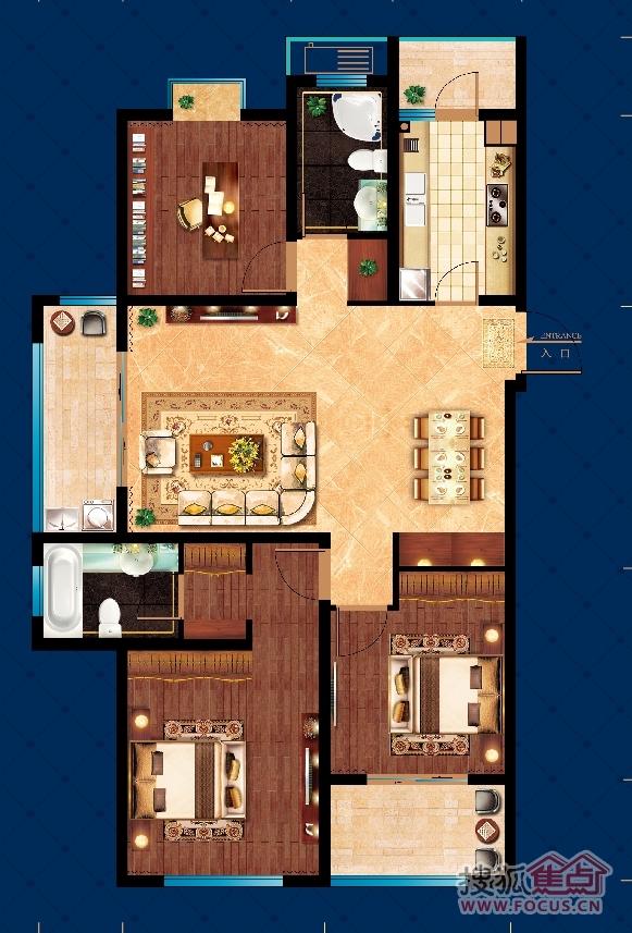 转 98237 其他三居:东祺·金域华府a3 三室两厅两卫132㎡户型(132㎡