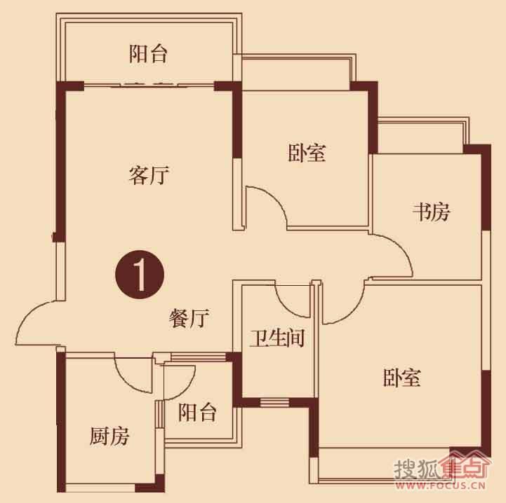 3号楼2单元101平三室两厅一卫1户型-3室2厅1卫-101