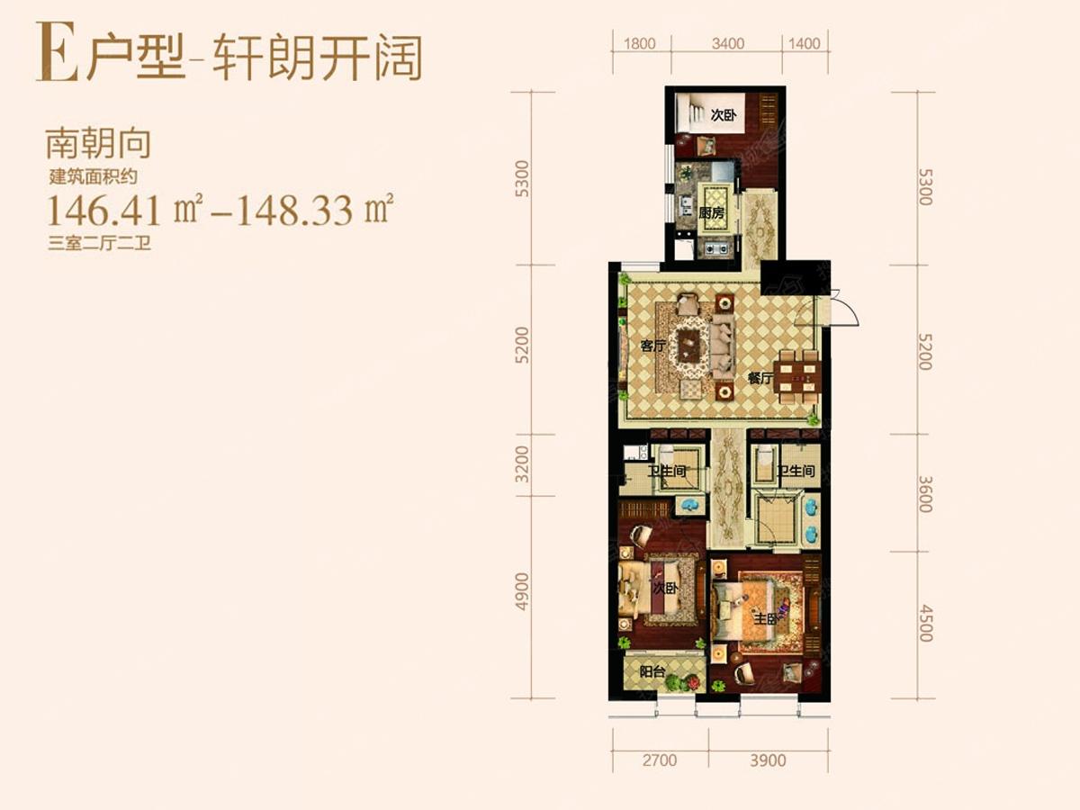 中国海南海花岛三居室e户型