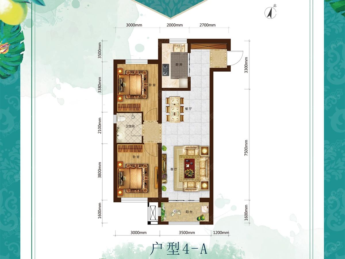 中国海南海花岛二居室户型4-a_中国海南海花岛户型图