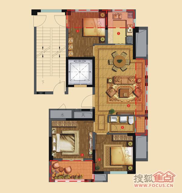 水岸枫情三居室维科馨院G4户型 水岸枫情户型图