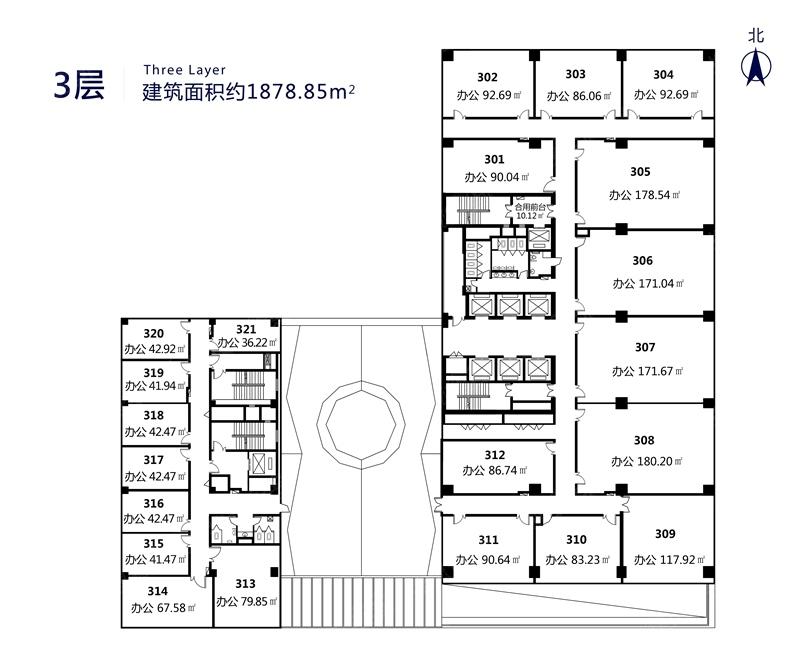 时代国际广场一居室3层户型_时代国际广场户型图-青岛