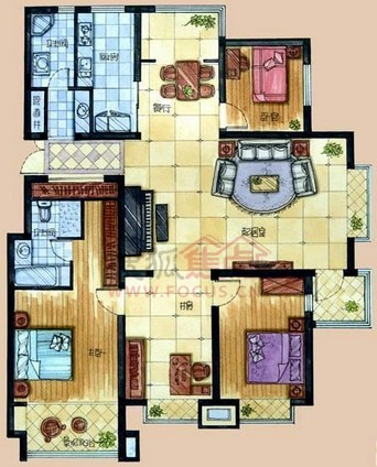 锦绣华城四居室二期标准层四室两厅两卫一厨约172.88 ...
