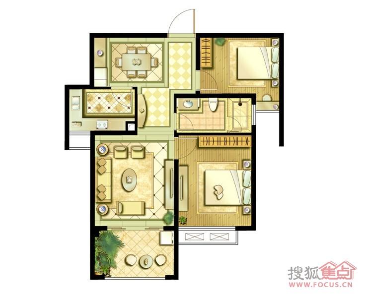 鑫苑世家1栋80平方米2房b户型-2室2厅1卫-80m