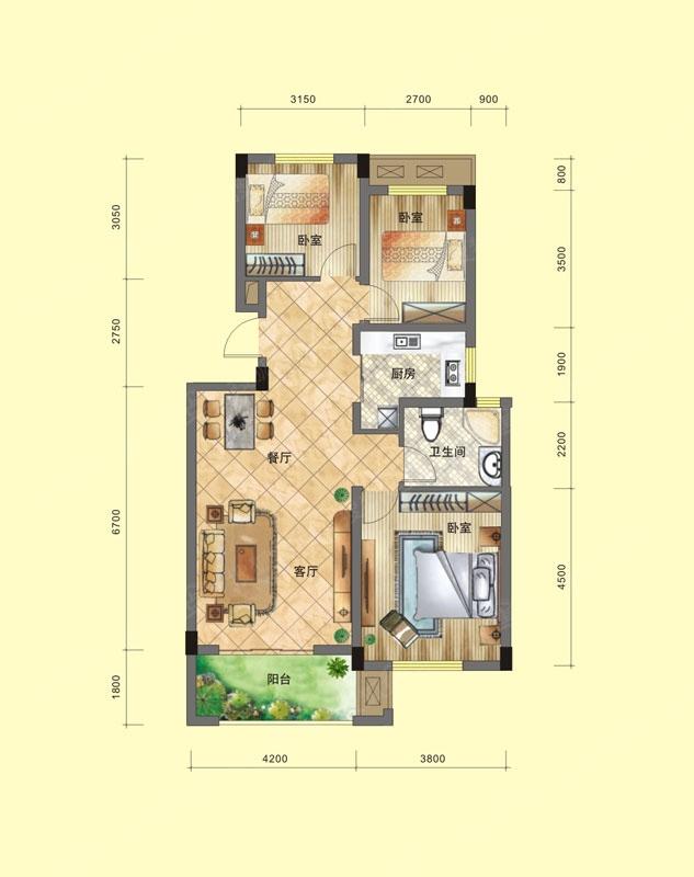 3平米三室两厅g1户型图户型(110.30㎡)瓜渚御景园多层144.