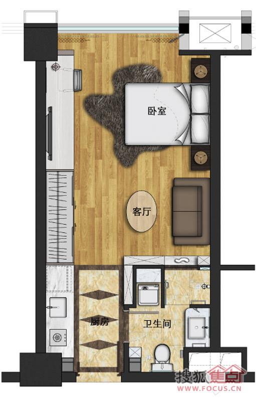 泰聚银时代单身公寓a户型