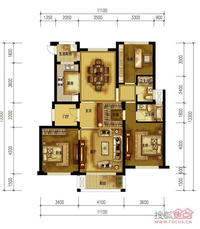 东方俊园小高层128㎡b1中间套三室两厅一厨两卫户型