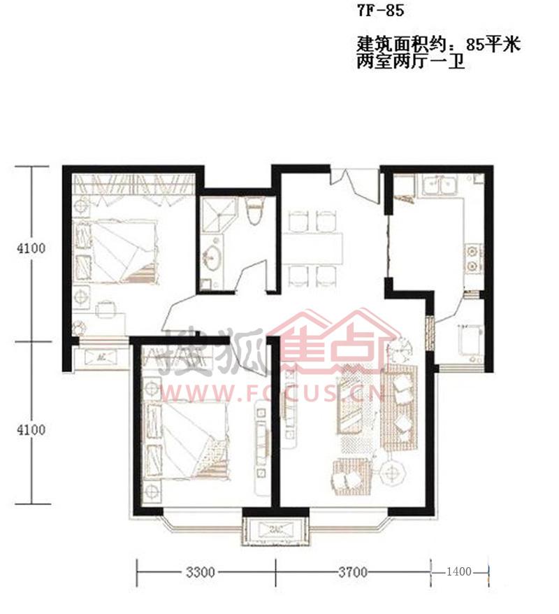 远洋风景7层洋房标准层01户型2室2厅1卫85.00㎡户型户型
