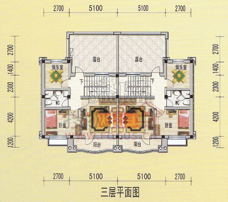 天津碧桂园一期双拼别墅w906标准层三层户型户型图-5