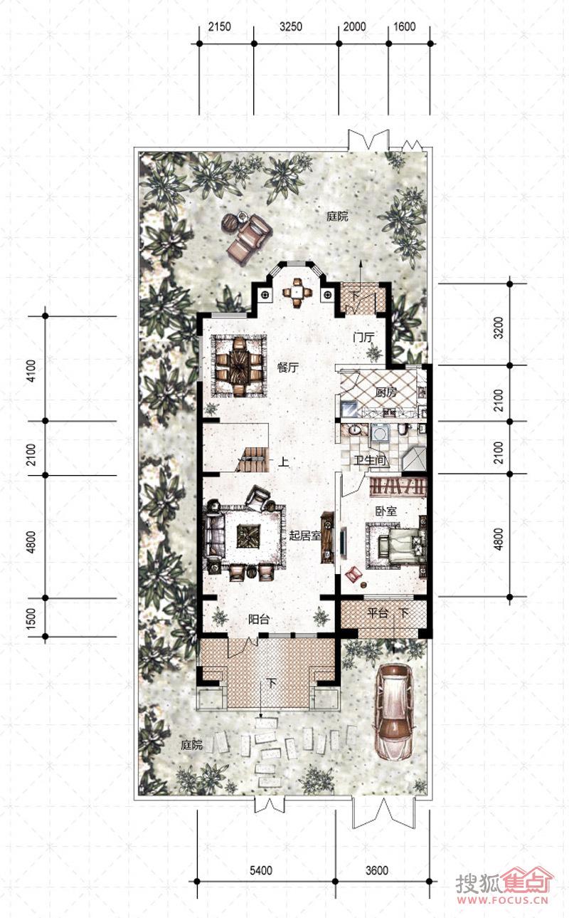 天津华侨城240-260平米联排别墅一层户型图户型
