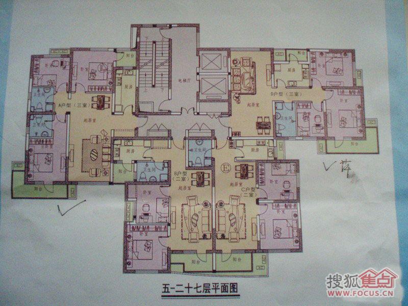 和苑定向安置房三居室5-27#楼标准层平面图3室2厅1卫