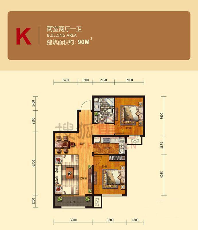 中国铁建国际城二居室高层k户型90平米_中国铁建国际