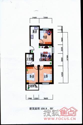 枣苑小区三室两厅一卫 100.8平米户型