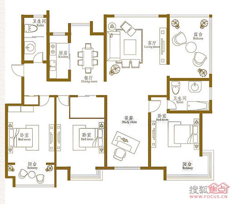 悦海世家四居室f_悦海世家户型图-威海搜狐焦点网