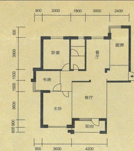 巢上城户型图二期1,2,4#楼c1户型