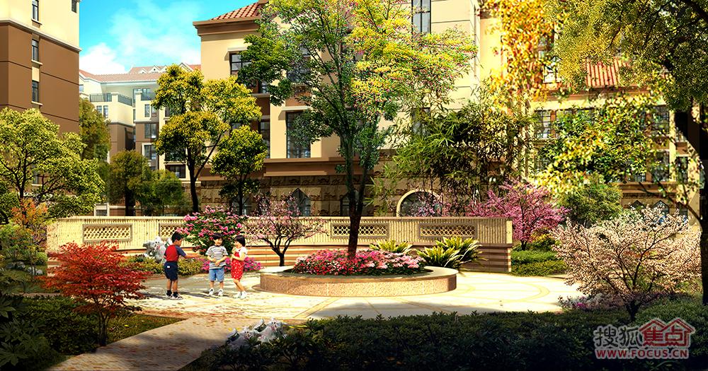 桃花园-弧形景墙效果图