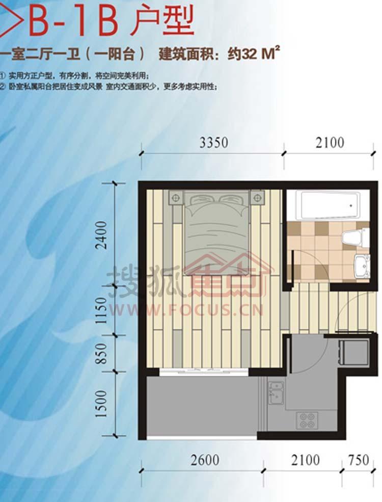 金侨城一居室b-1b_金侨城户型图-湘潭搜狐焦点网