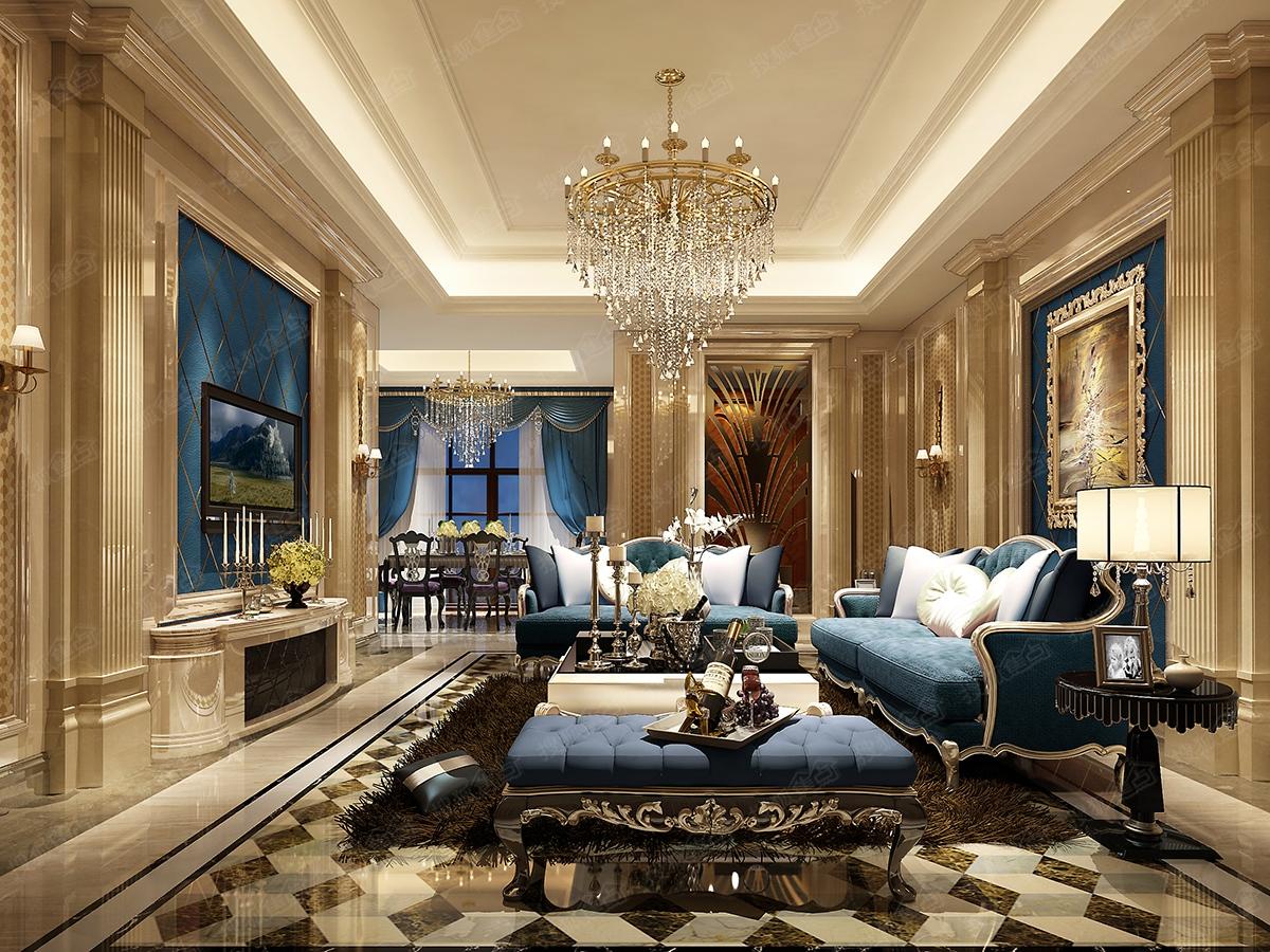 东城天樾7.8栋欧式别墅样板间——客厅(效果图)