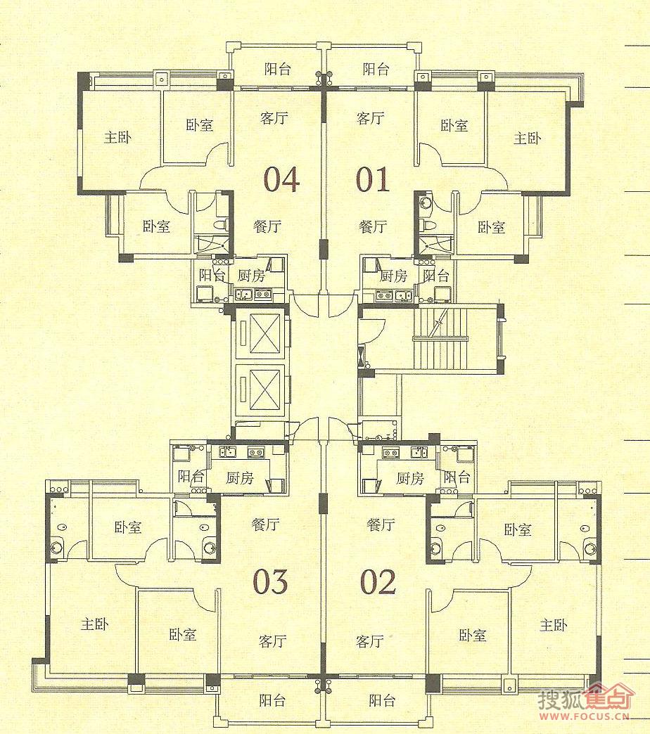 中澳世纪城零居室世纪城61栋标准层平面图 中澳世纪城户型图